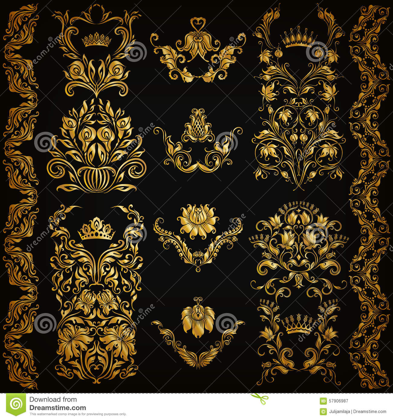 Set of vector damask ornaments stock vector image 57906987 for Arabesque style decoration