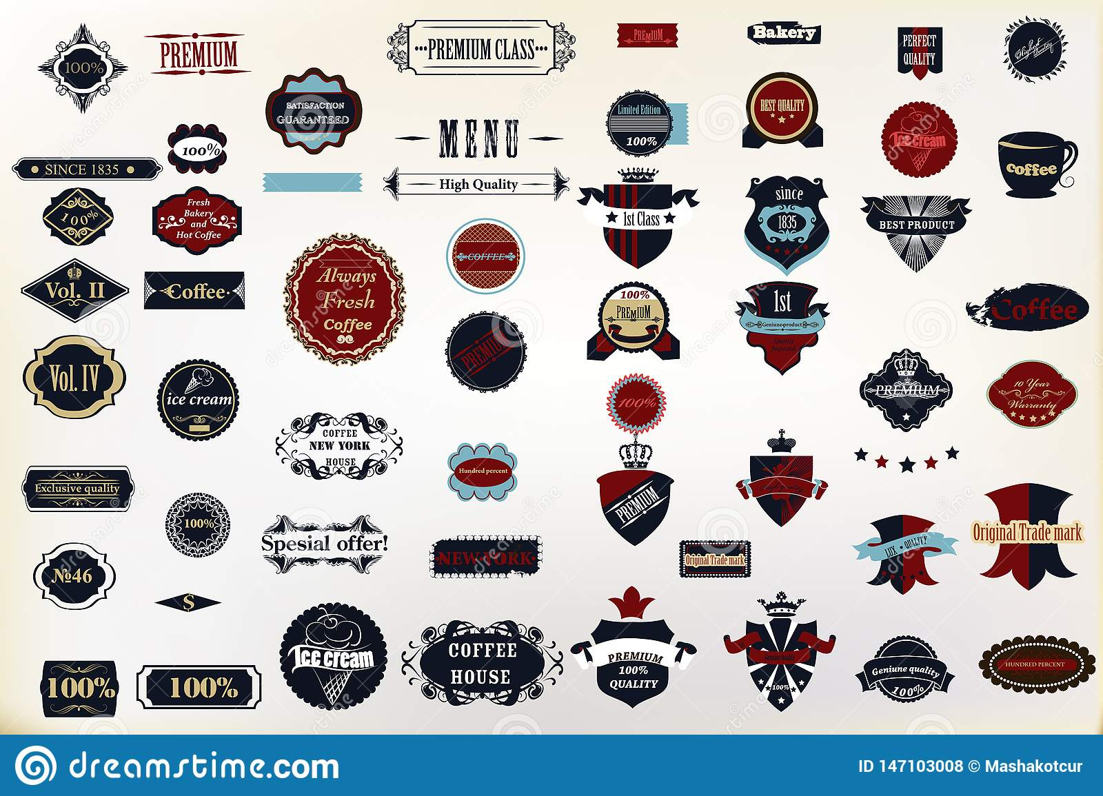Set of vector decorative badges and labes for design