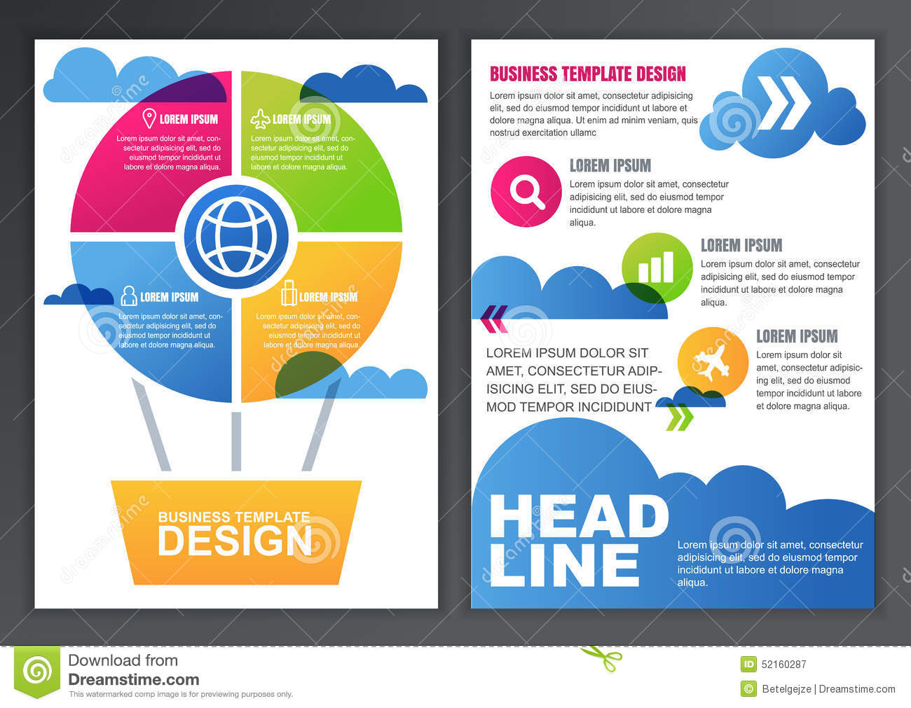 online brochures templates - set of vector design template for business brochure