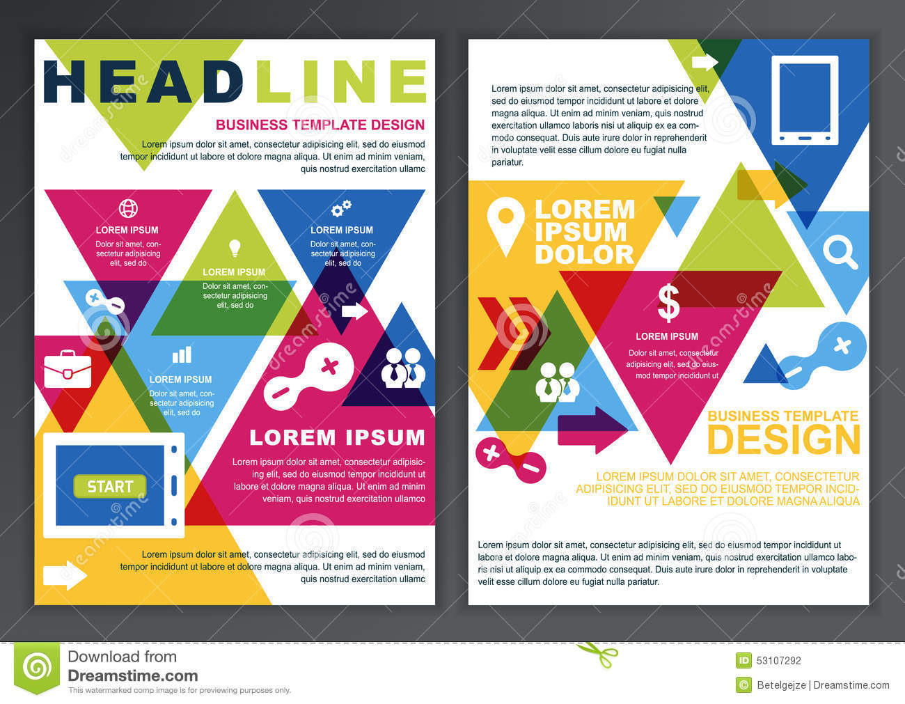 Set of vector design template for business brochure Create a blueprint online
