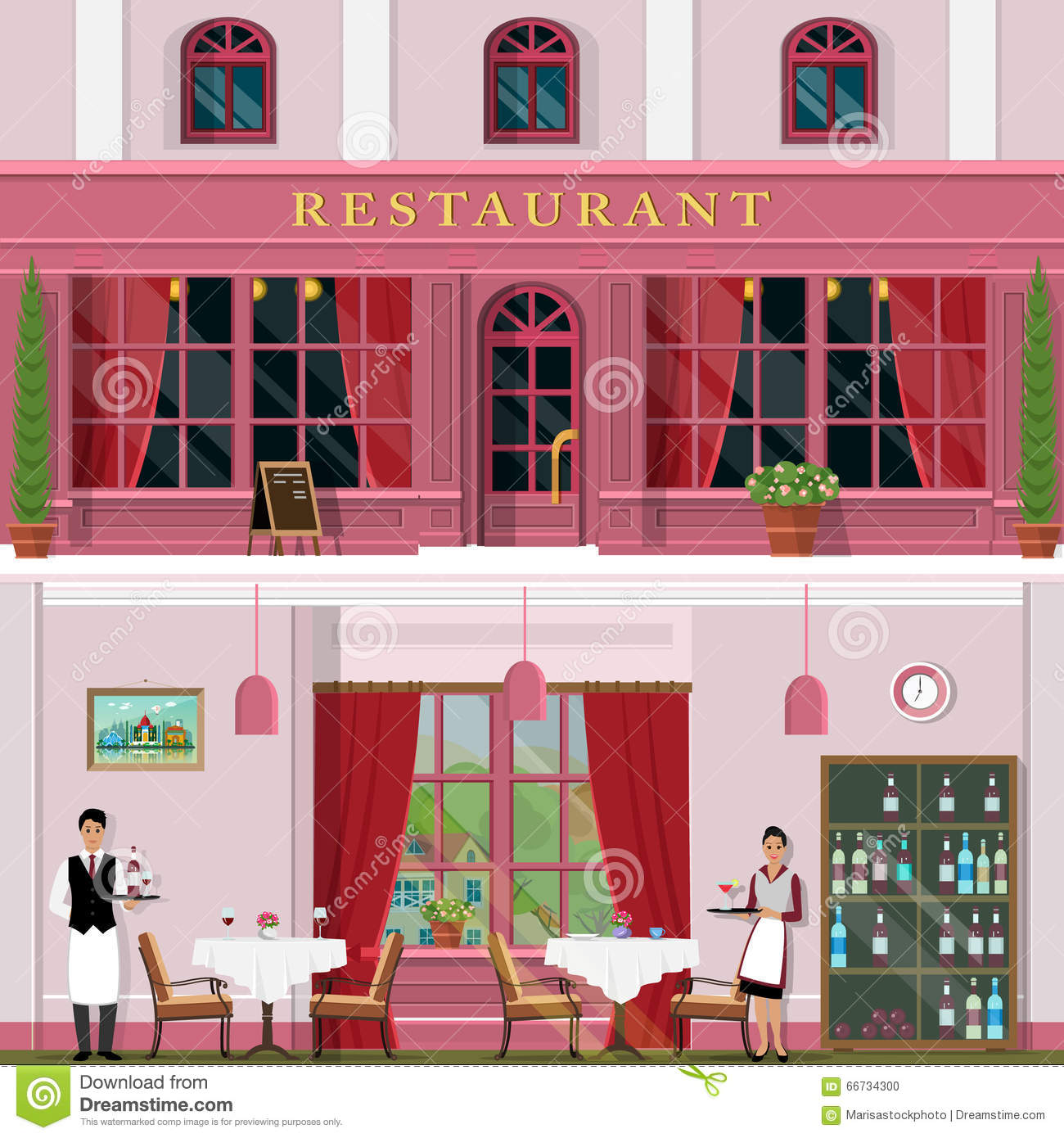 Set of vector detailed flat design restaurant facade and