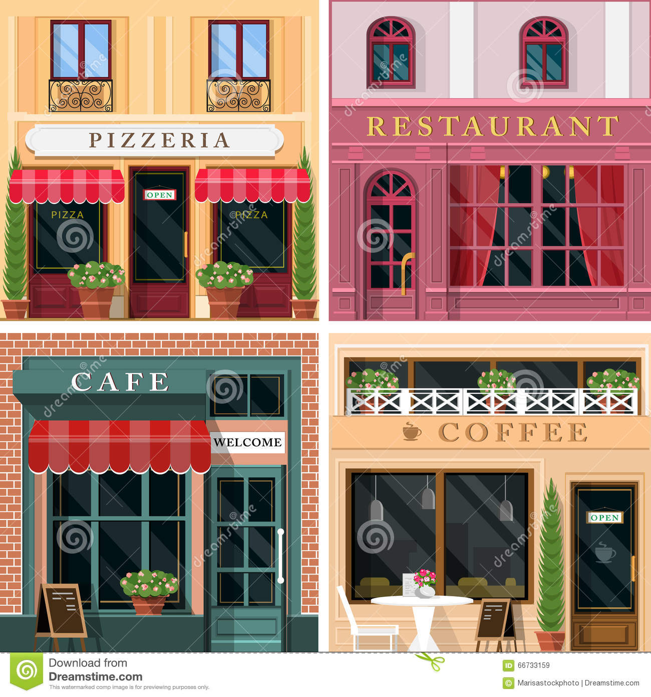 Set Of Vector Detailed Flat Design Restaurants And Cafes Facade