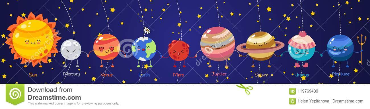 Coloring for Kids colors of the planets in the solar system for kids : Set Of Vector Doodle Cartoon Icons Planets Of Solar System. Comic ...
