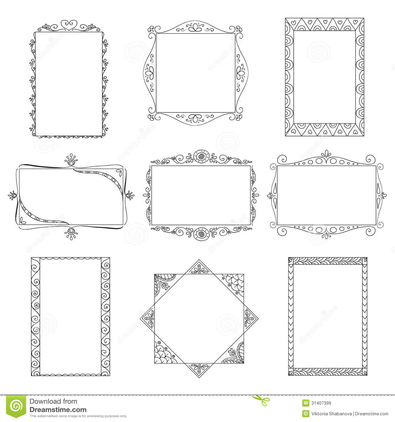 Set Of Vector Doodle Frames. Royalty Free Stock Images ...