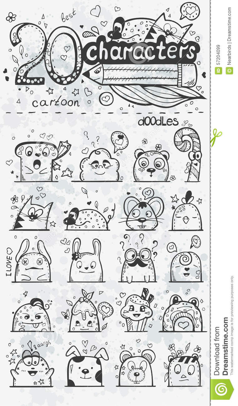 Set Of 20 Vector Doodle Hand-drawn Cartoon Characters Stock Vector