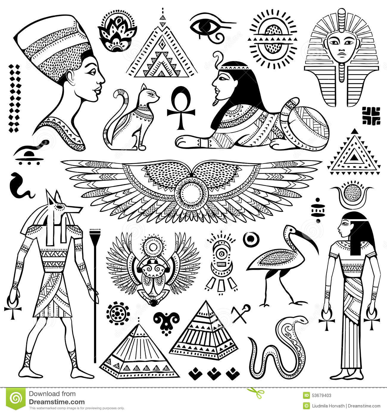 Set Of Vector Egypt Symbols Stock Vector Illustration Of Ancient