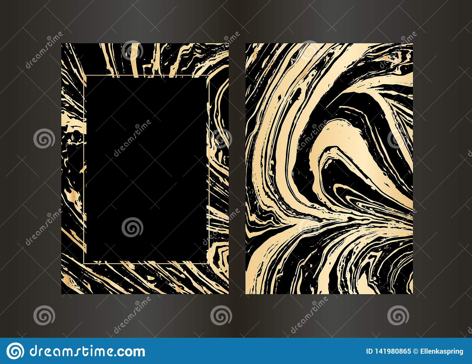 Set Of Vector Elegant Black And Gold Brochure, Wedding Invitation Card,  Background, Cover. Design Template With Marble Stock Vector - Illustration  of liquid, frame: 141980865