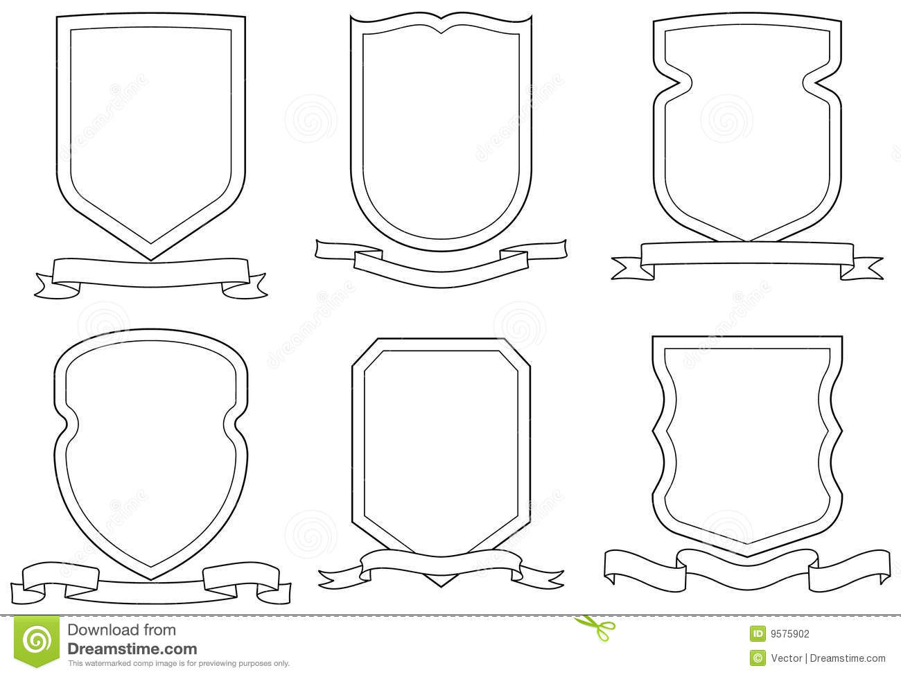 scroll drawing template - set of vector emblems crests shields and scrolls stock