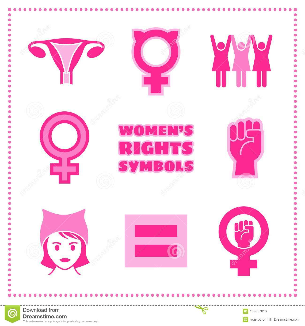 Set Of Vector Feminist Symbols For Womens Rights Issues Stock