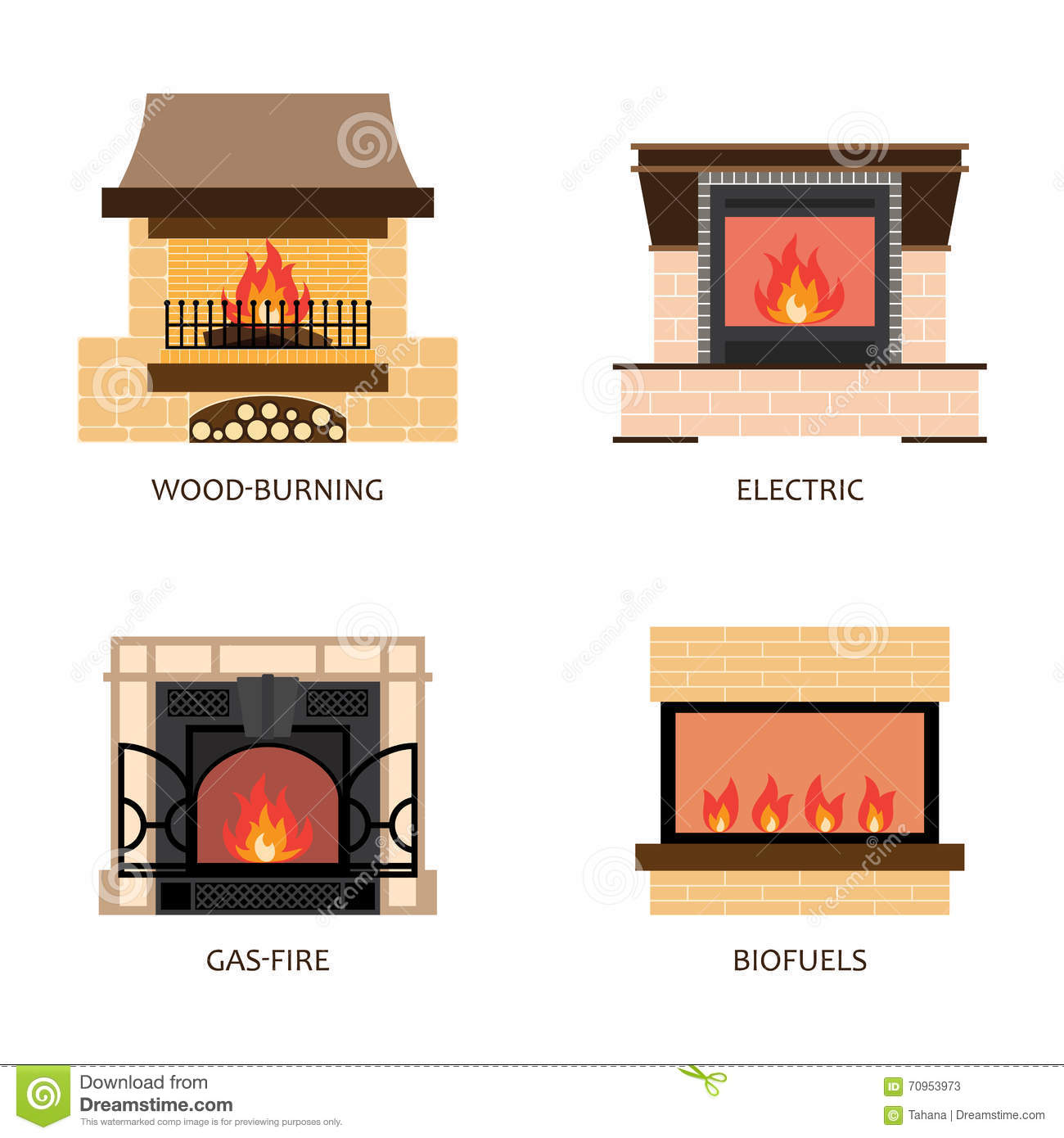 Set Of Vector Fireplace Colored Icons. Elements Of Home Design. Interior  Fireplaces Collection. Fireplaces . Flat Style