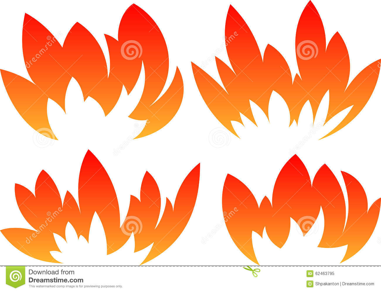 set of 4 vector fires in cartoon style stock vector illustration