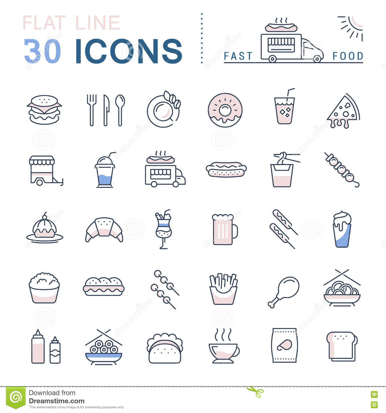 Cooking Concept Flat Icons Set Stock Vector: Set Vector Flat Line Icons Fast Food And Junk Food Stock