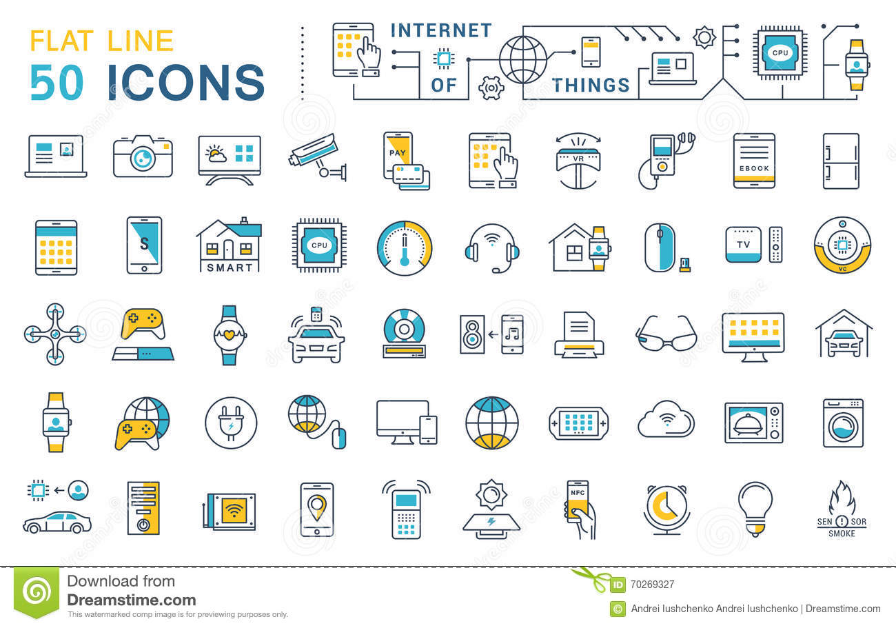 Internet of things infographic icons set stock vector set vector flat line icons internet of things royalty free stock photography biocorpaavc