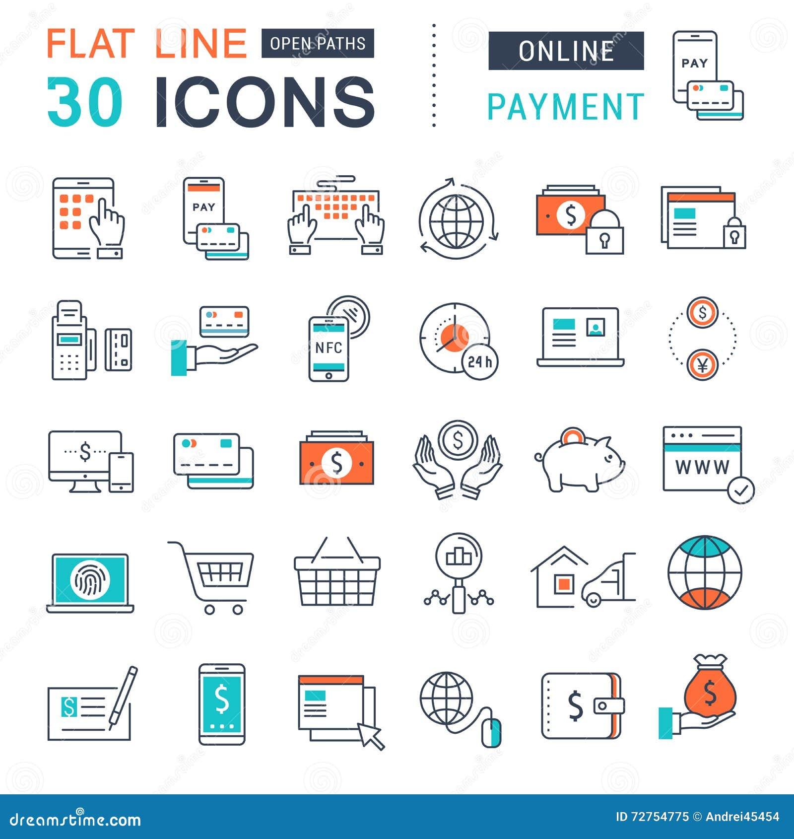 Set Vector Flat Line Icons Online Payment. Marketing, elements.