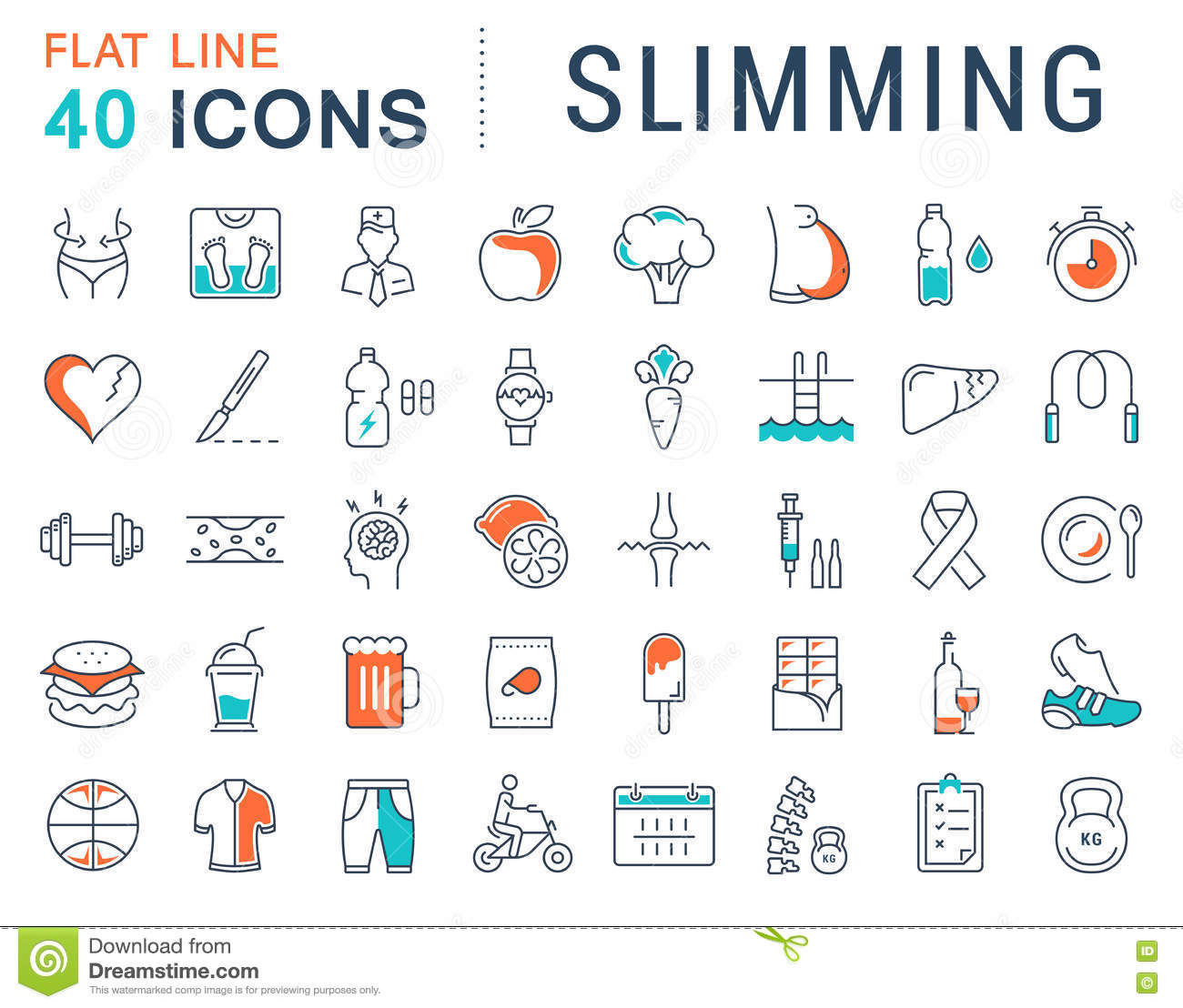 Set Vector Flat Line Icons Slimming Stock Image