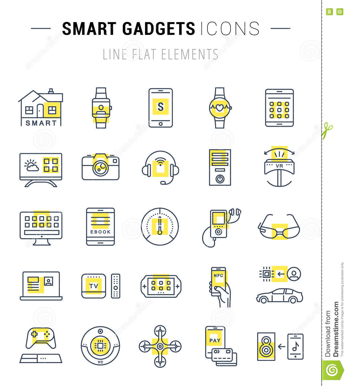 Modern Drone Logo Collection: Set Vector Flat Line Icons Smart Device Stock Illustration
