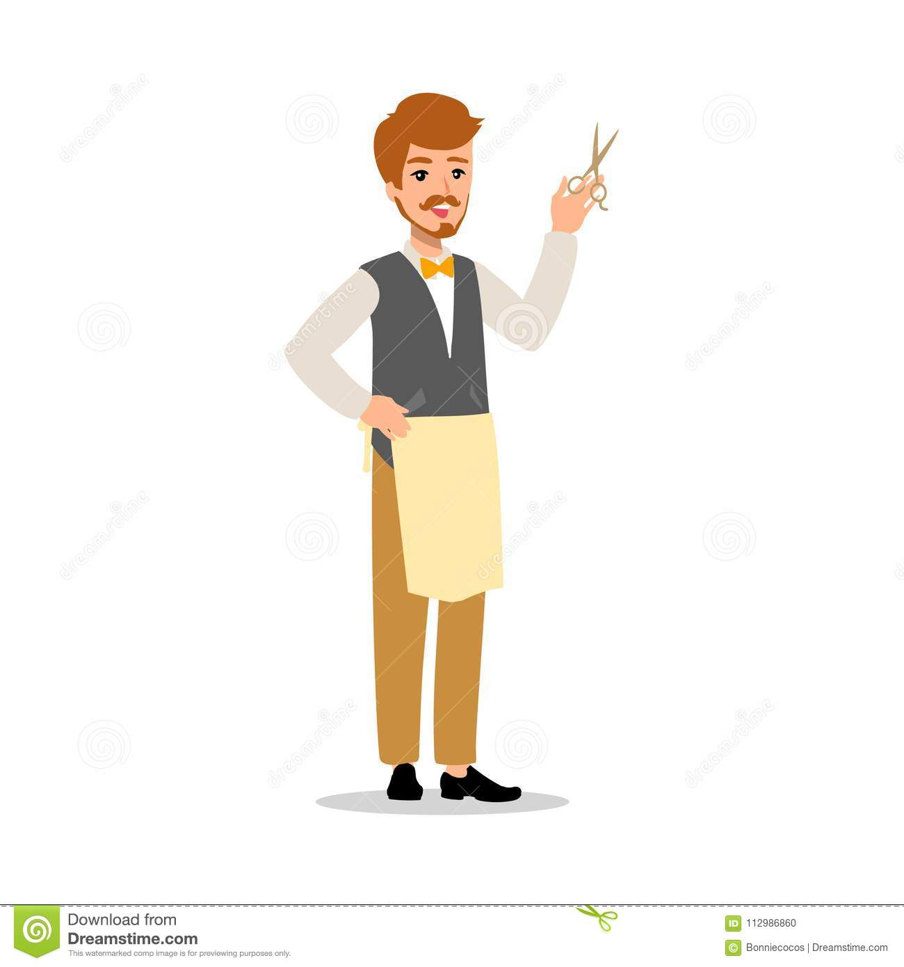 Set of vector flat style character barber guy in different static poses. Isolated on white background.