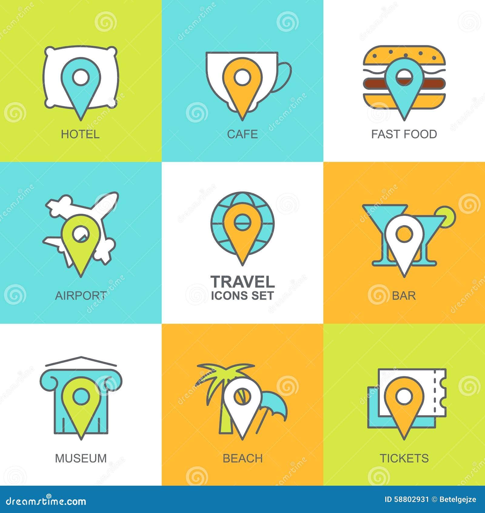 Set Of Vector Flat Travel Icons Map Symbols Waypoint Hotel T