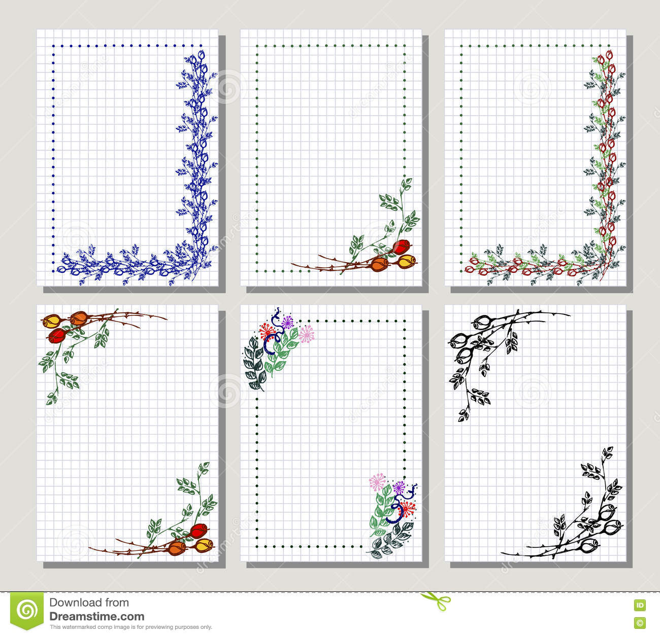 Set of vector floral frame card border stock vector greeting cards different template with colorful hand drawn flowers and leaves graphic illustration vector design series of cards blanks and forms m4hsunfo