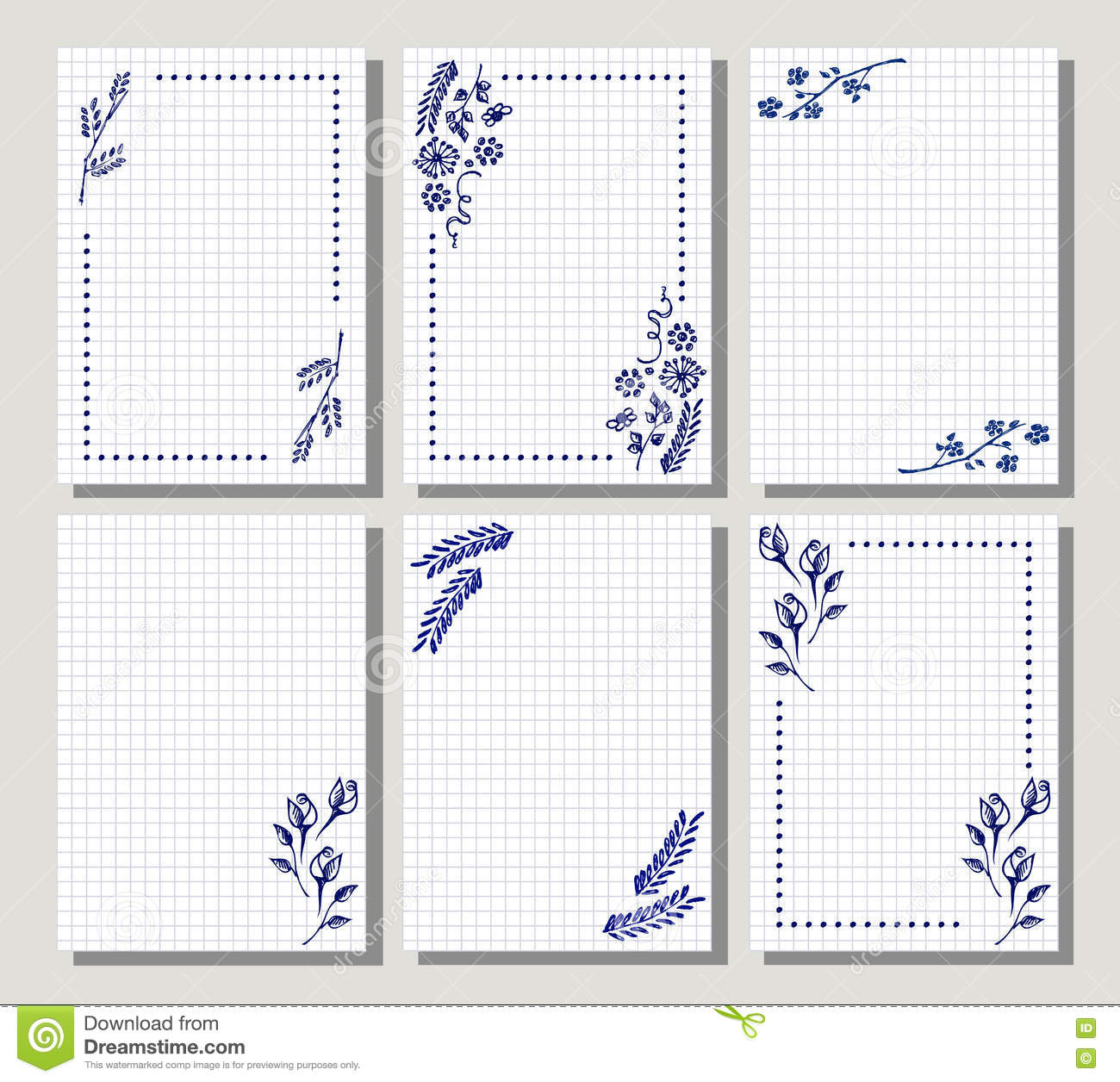 Set Of Vector Floral Frame Card Border Greeting Cards Stock