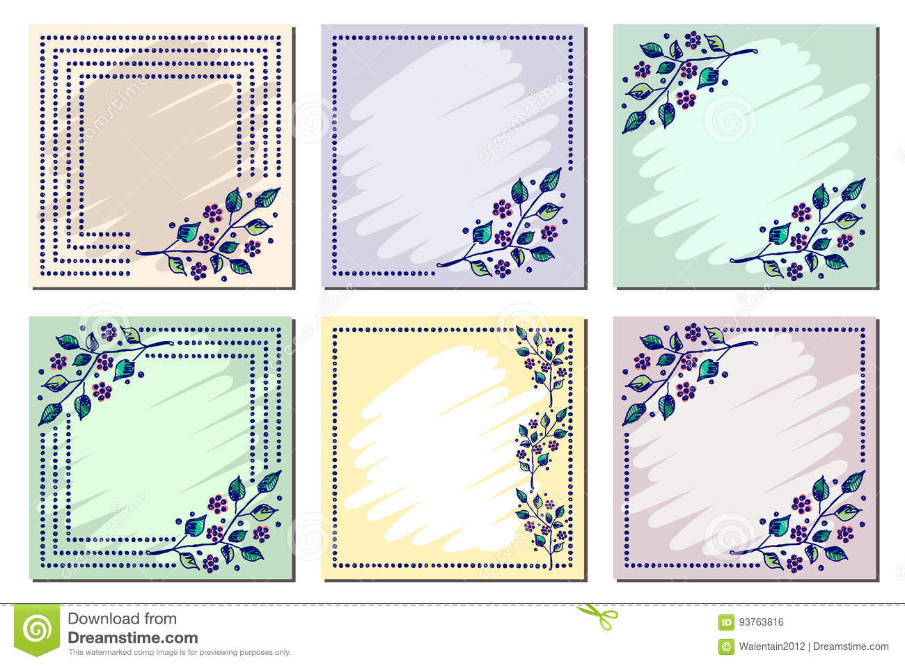 Set Of Vector Floral Frame Card Border Greeting Cards Different