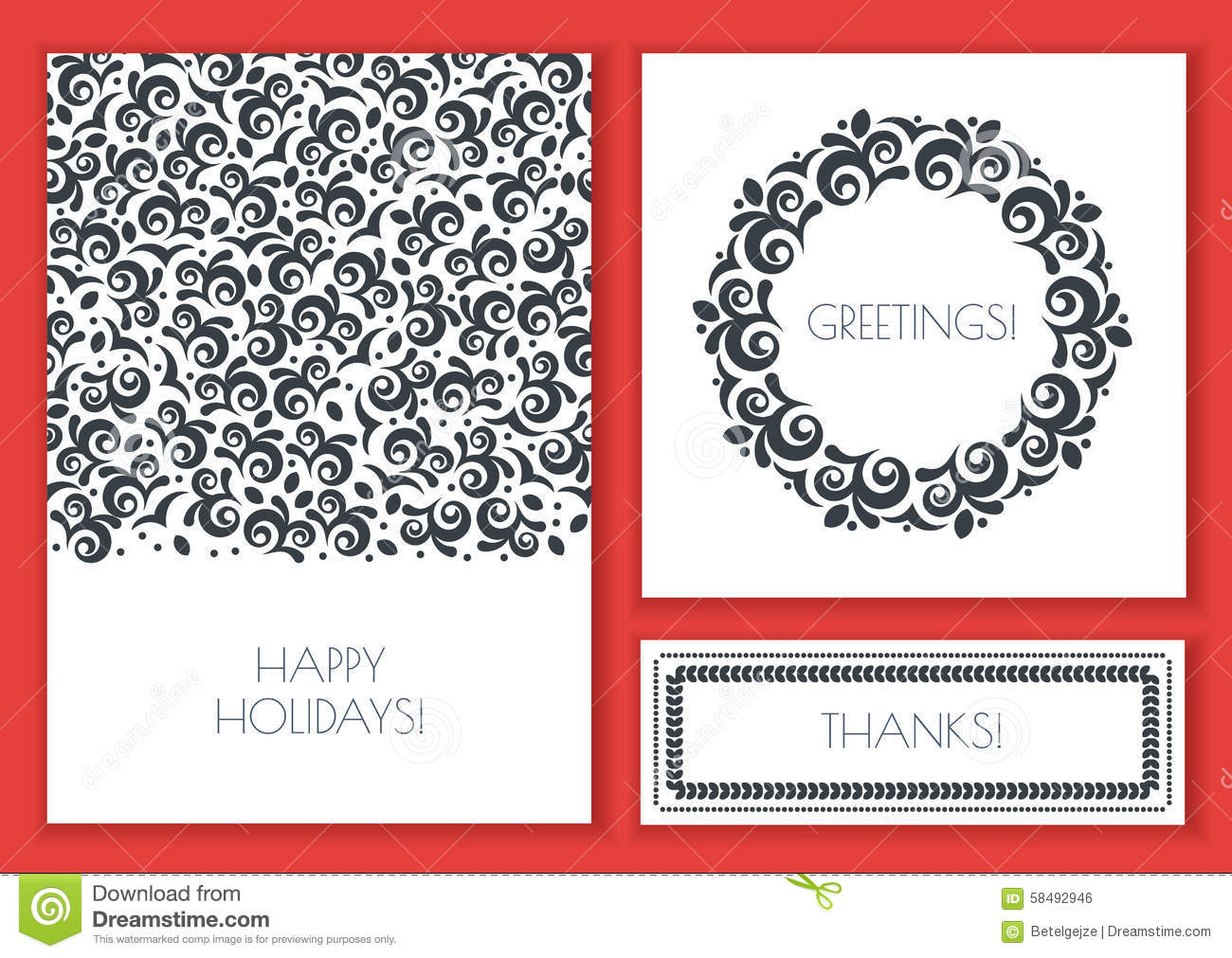 Set Of Vector Floral Greeting Cards Template. Vintage Decorative ...