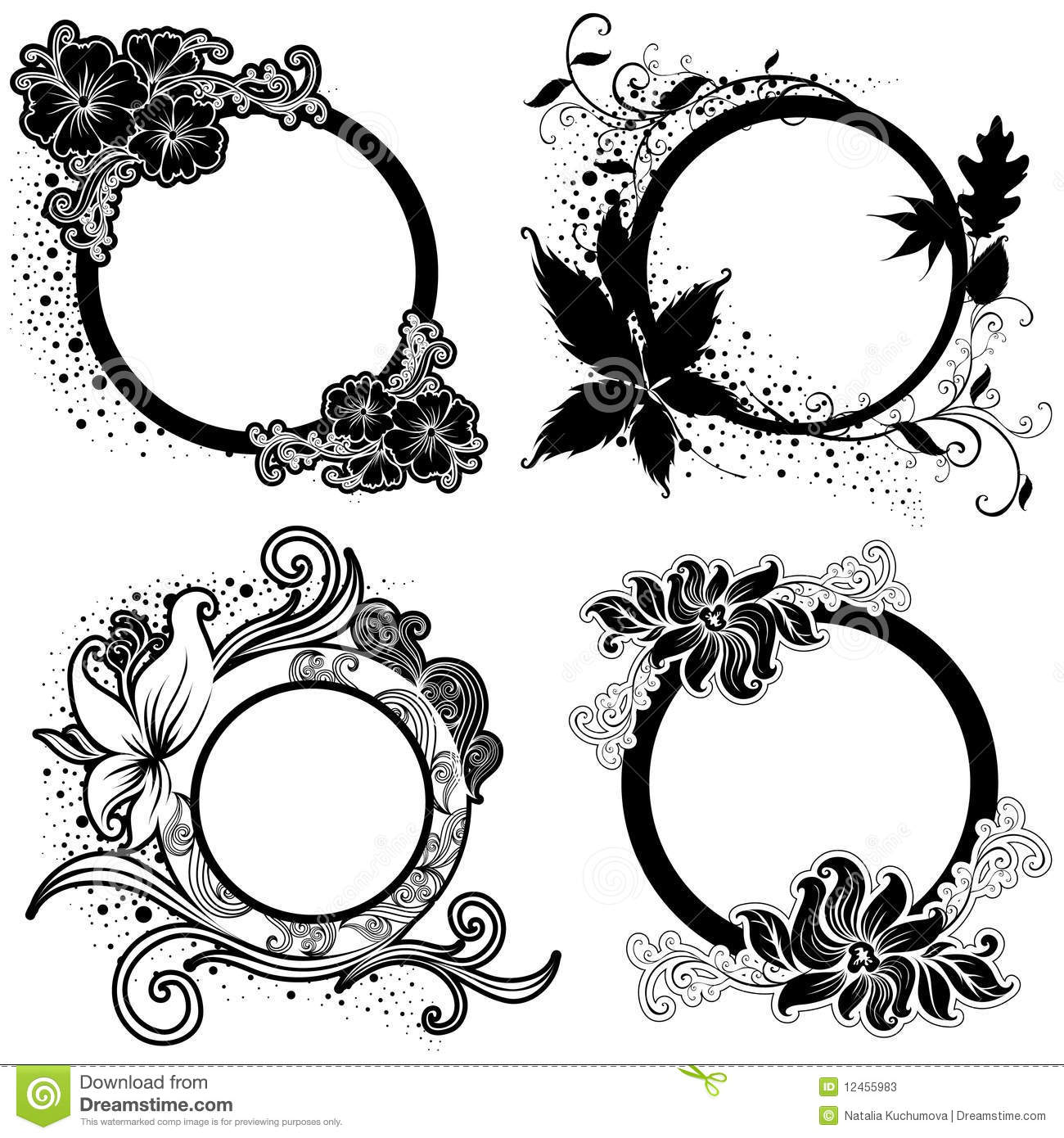 Black Frame Glasses Vector : Set Of Vector Floral Vintage Black Frames Stock Photos ...