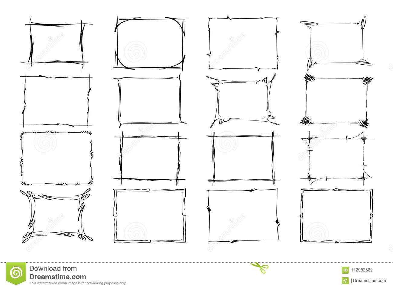 Set of Vector Frames. Rectangles for image. Hand drawn black highlighting borders isolated on the white background