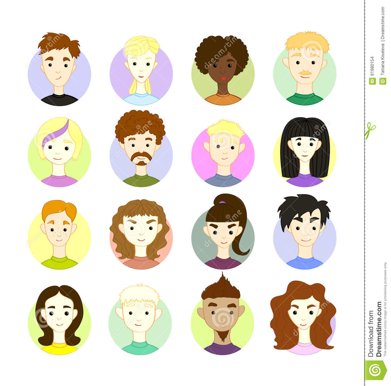 Set 16 Vector Freehand Drawing Images Different People S