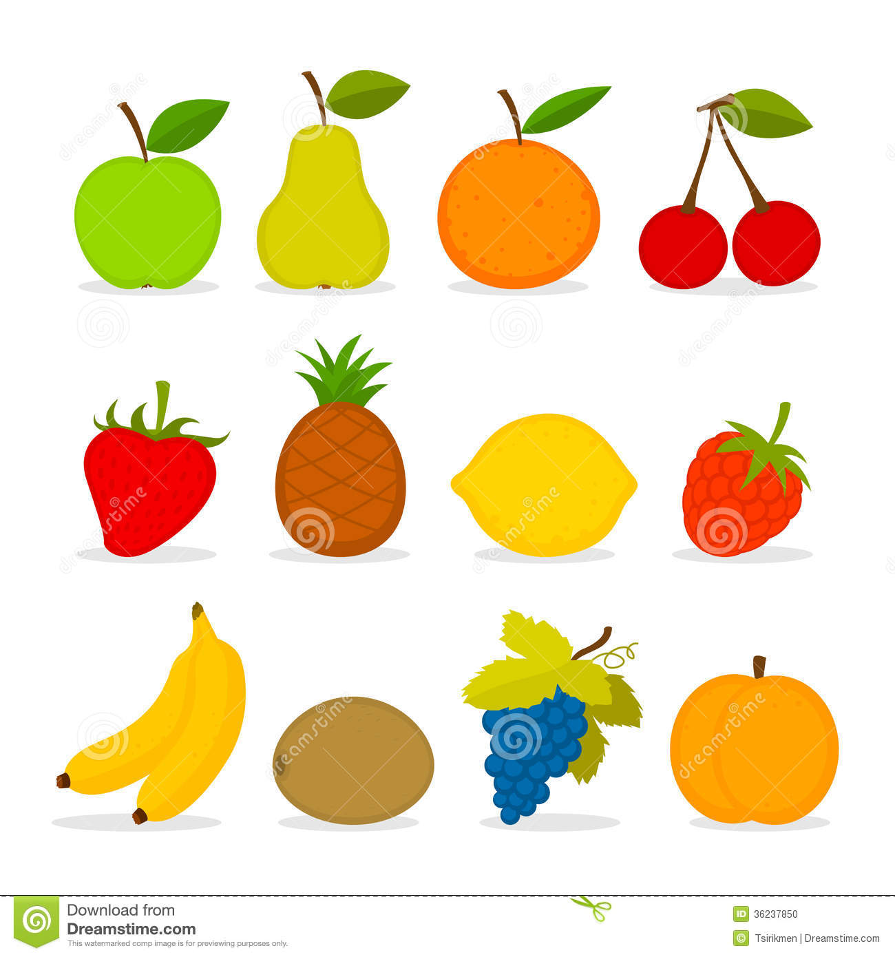 Set Of Vector Fruit Stock Photo - Image: 36237850