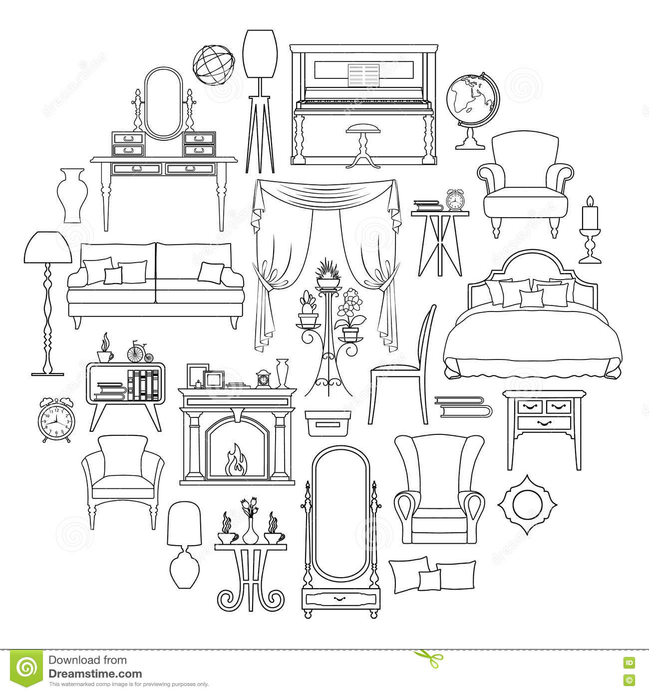 furniture and home interior set icons in outline style  cartoon vector