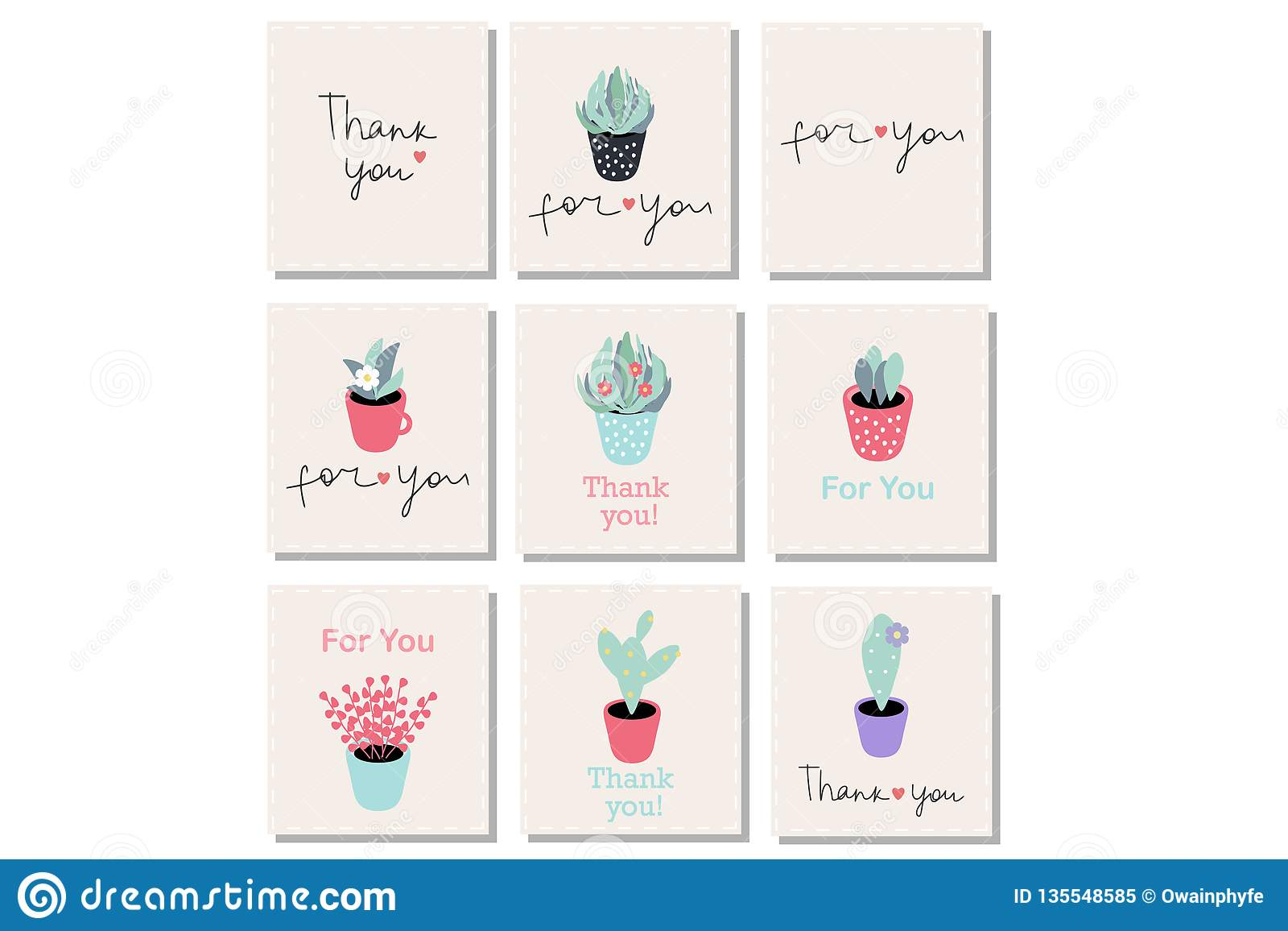 Set of 9 vector gift cards with words ``Thank you`` and ``For you