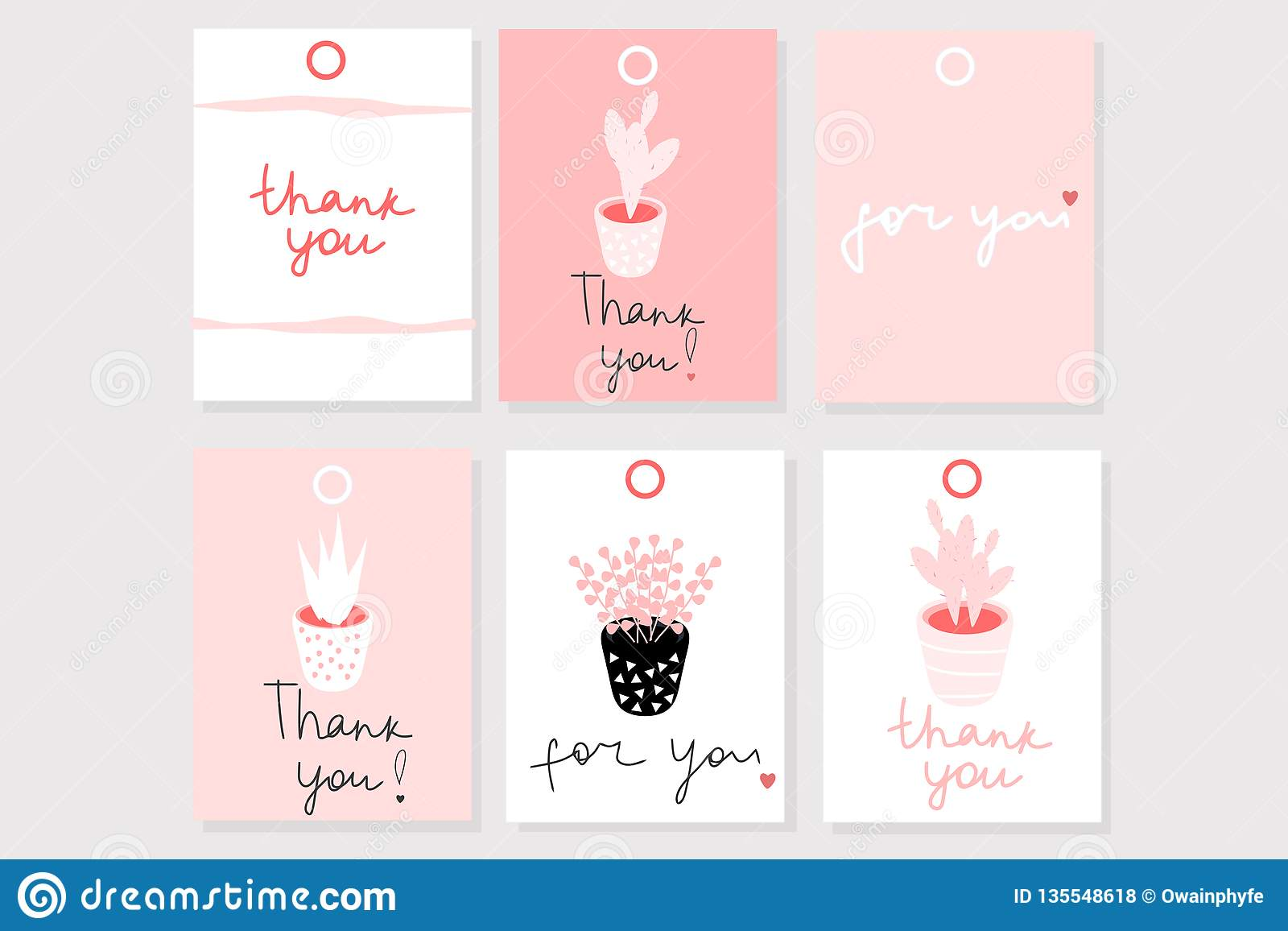 Set of 6 vector gift cards with words ``Thank you`` and ``For you`` in cute romantic girly style