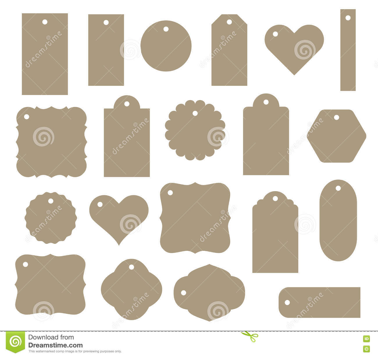 Set Of Vector Gift Tag, Discount Label. Twenty Different Shapes ...