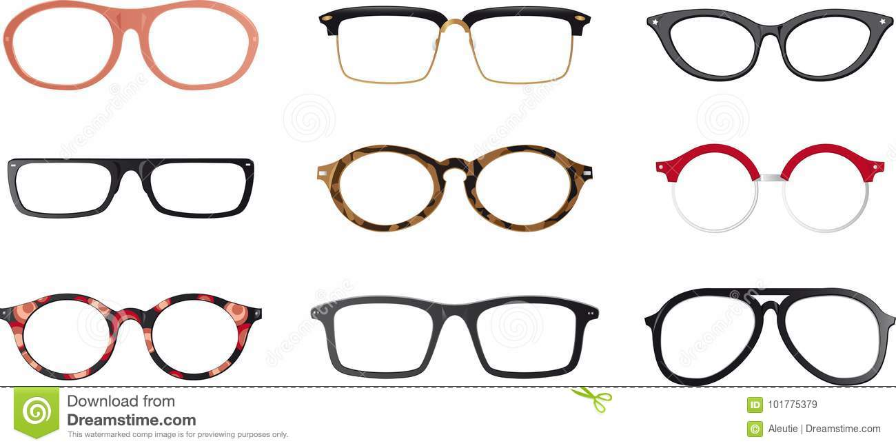 32c3d0e926 Set of vector glasses frames stock vector illustration jpg 1300x650 Glasses  frames vector