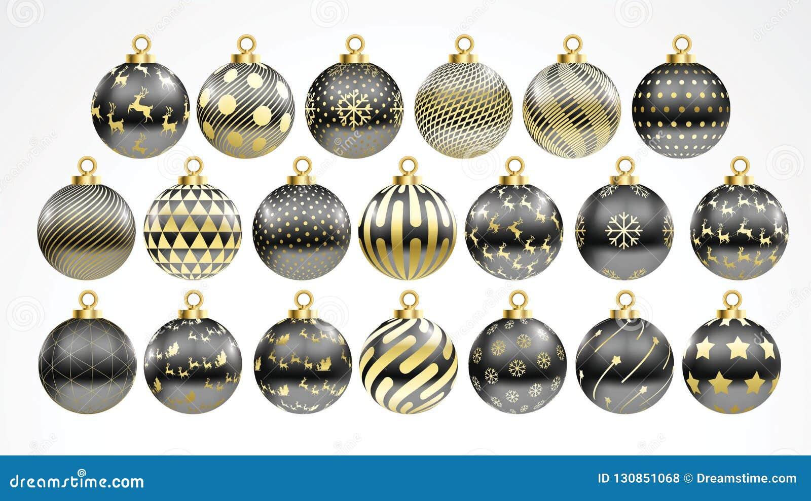 Black Christmas Balls.Set Of Vector Gold And Black Christmas Balls With Ornaments Golden