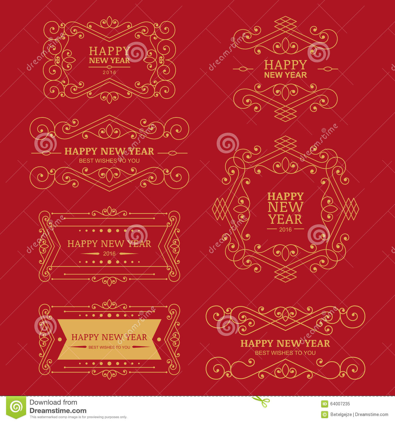 set of vector golden vintage new year badges labels and design
