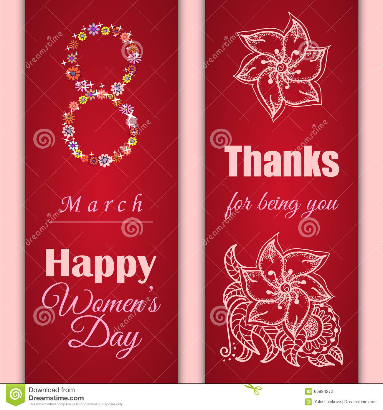 Set Of Vector Greeting Cards Or Banners For 8 March Happy Womens