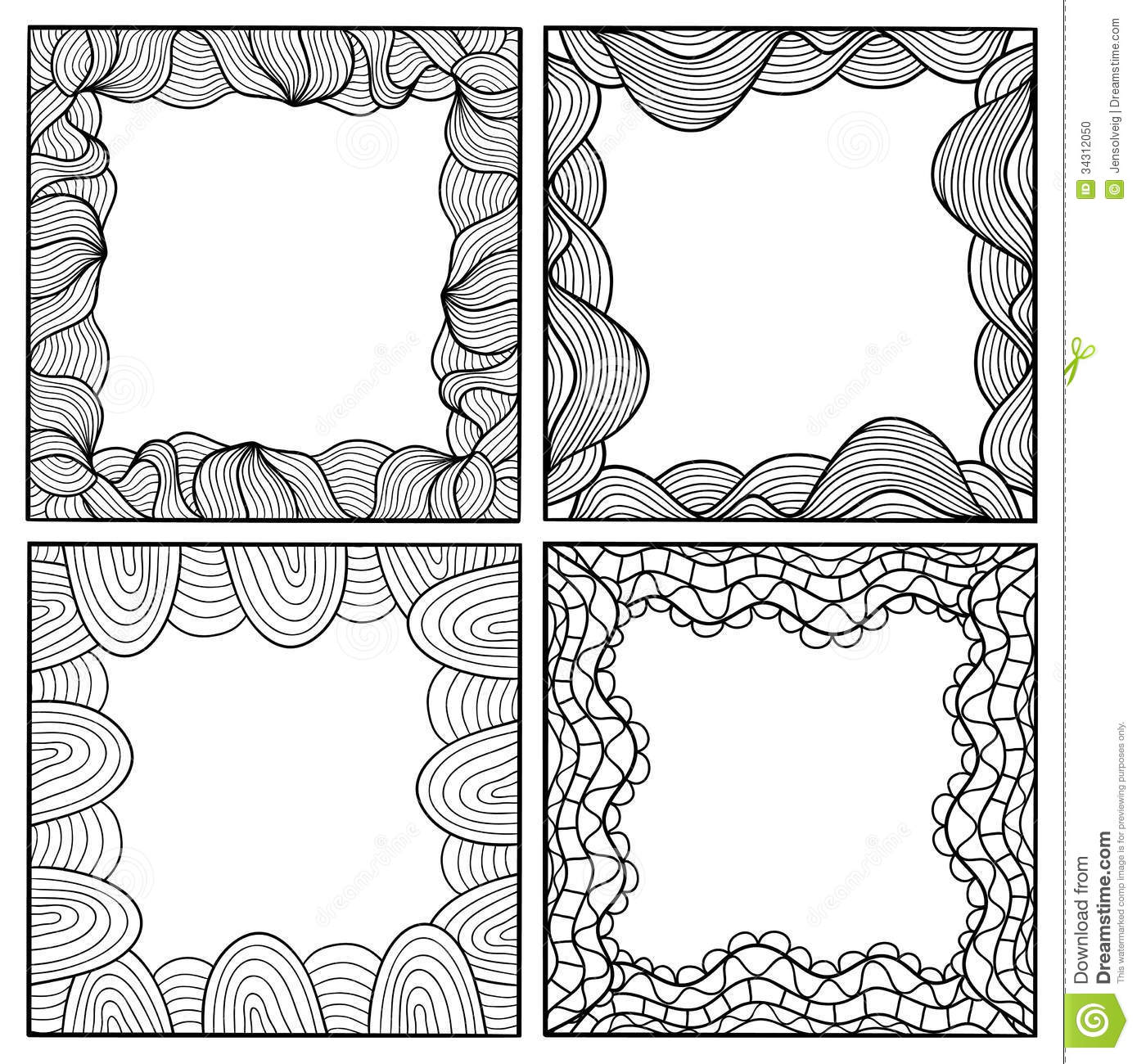 Set Of Vector Hand Drawn Artistic Black Frames Stock Vector ...