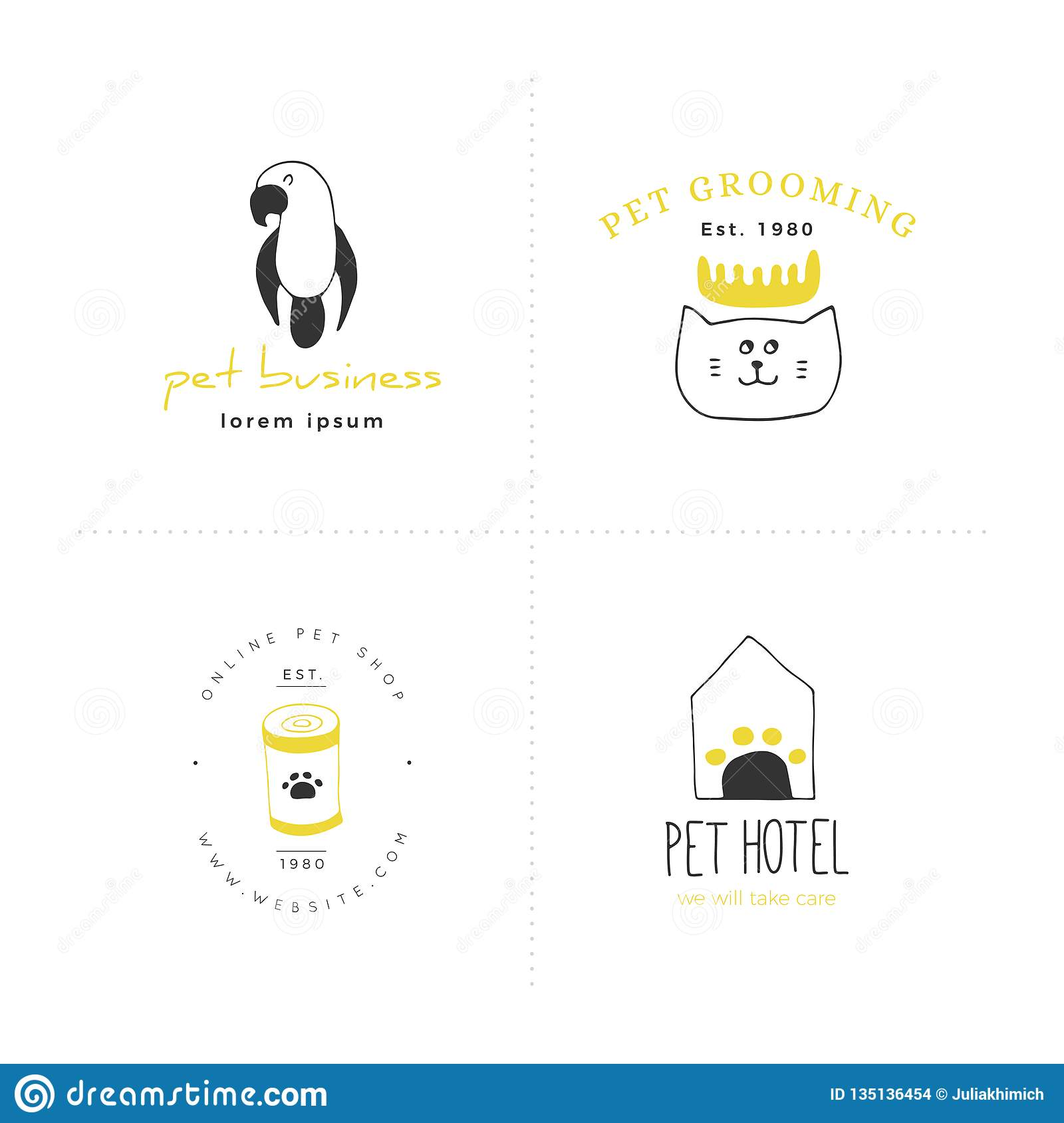Set Of Vector Hand Drawn Icons, Domestic Animals  Logo
