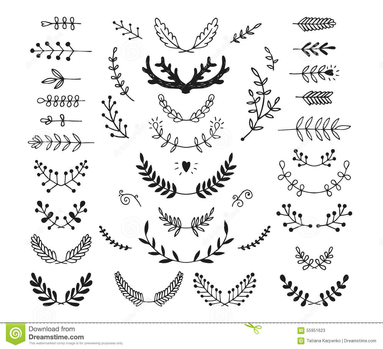 Set of vector hand drawn laurels, wreath, branches. Nature, floral ...