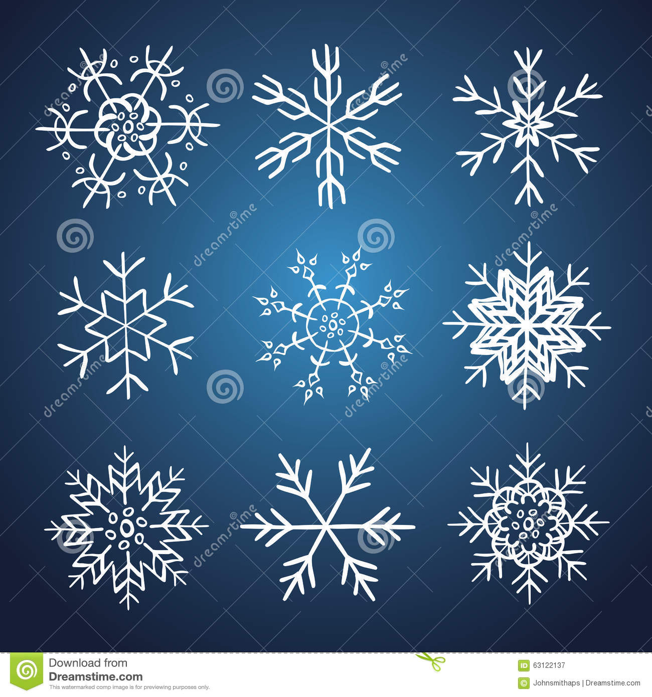 Set of vector hand drawn snowflakes stock image