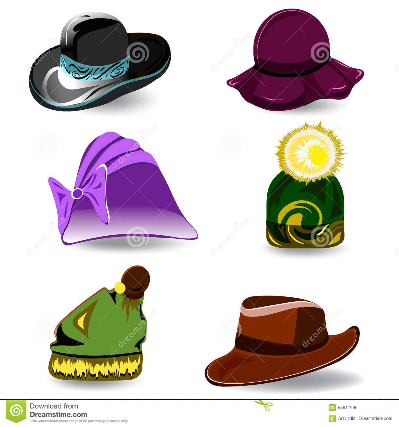 97cb43df86dbd Set a variety of hats for women and men. Colorful cartoon style. Vector  illustration