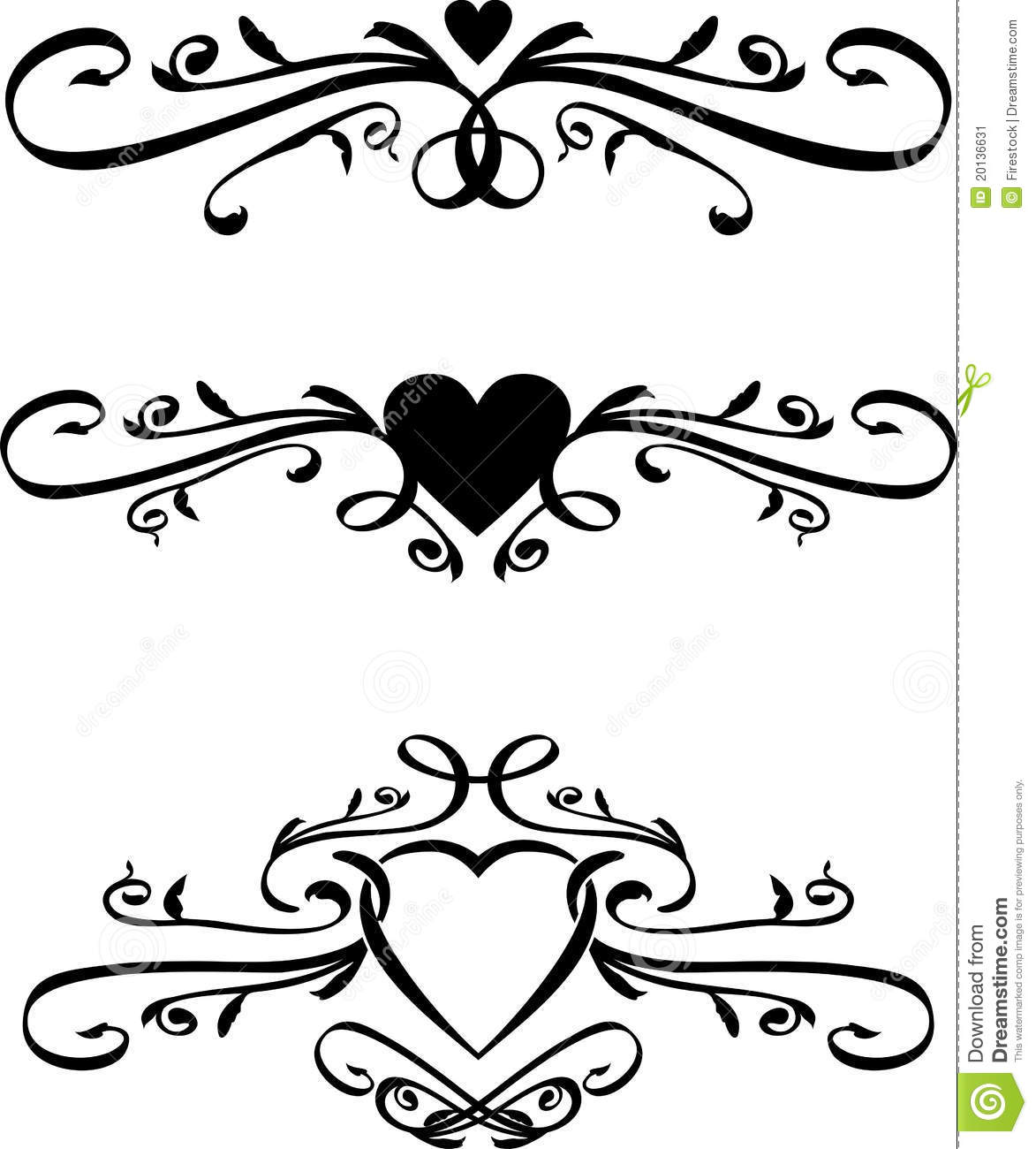 Scroll Drawing: Set Of Vector Heart Scrolls Stock Vector