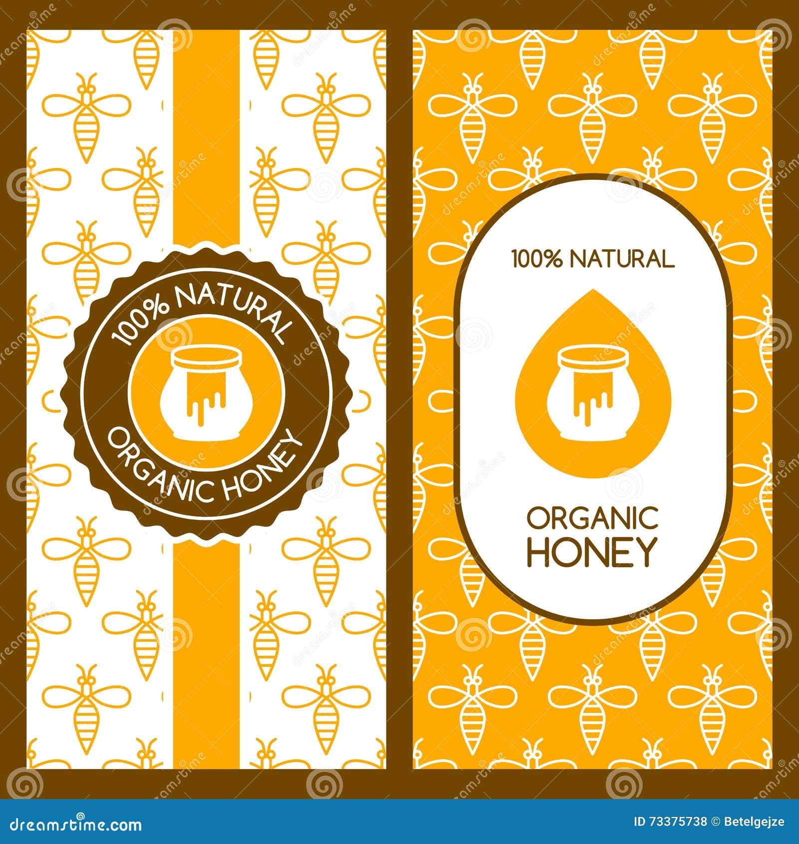 set of vector honey backgrounds for label package banner