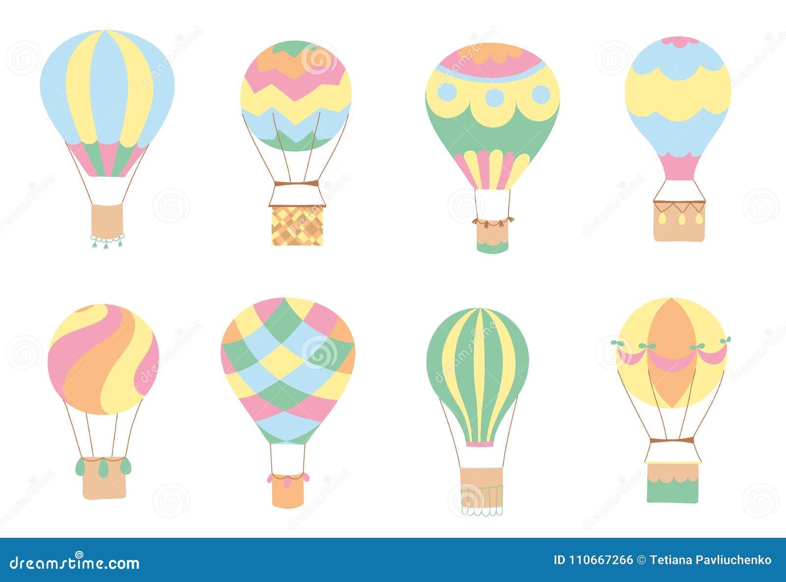 Set Of Vector Hot Air Balloons Stock Vector Illustration Of Outdoor Balloon 110667266
