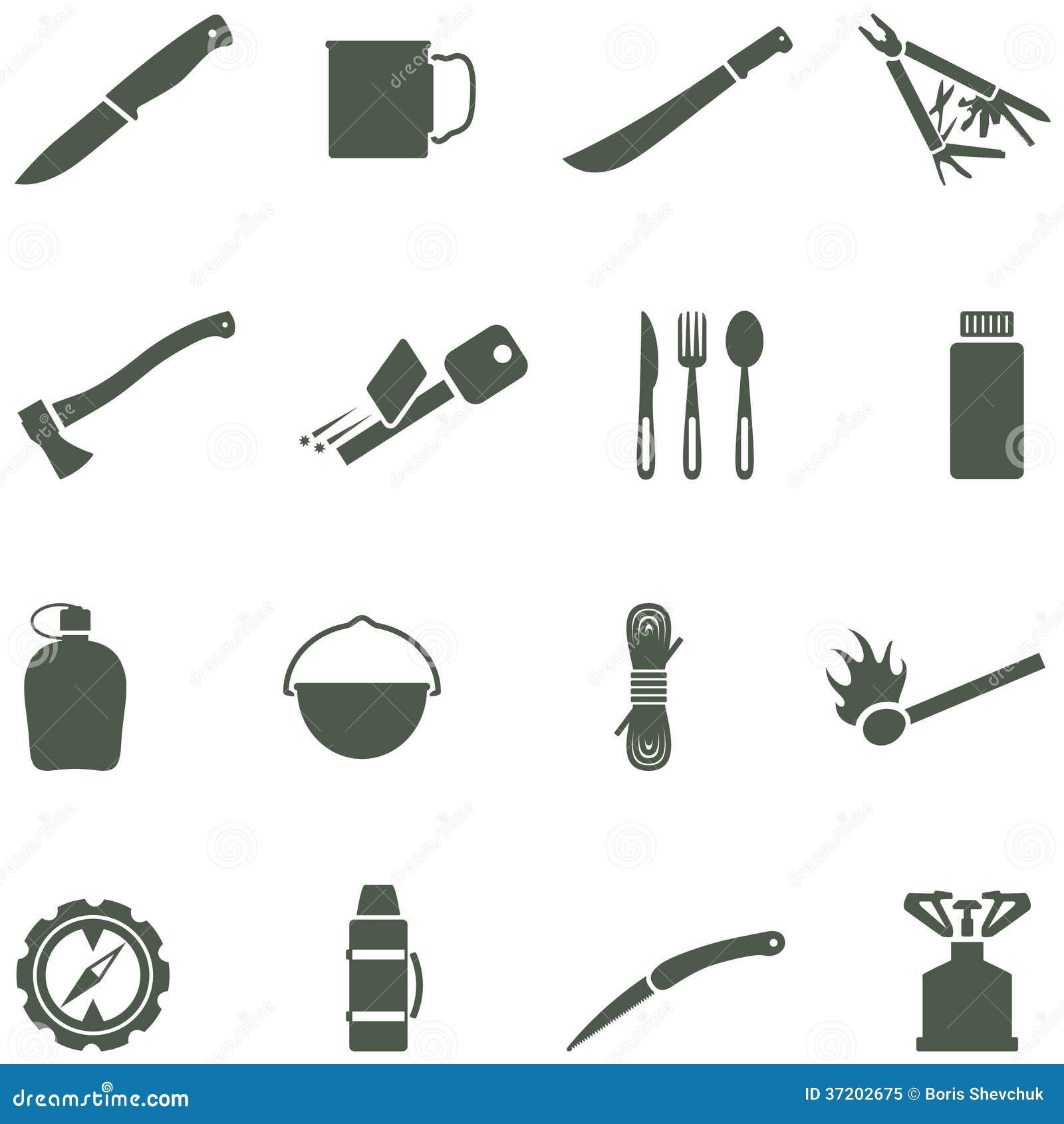 Hiking And Camping Icons. Vector Set. Cartoon Vector ...