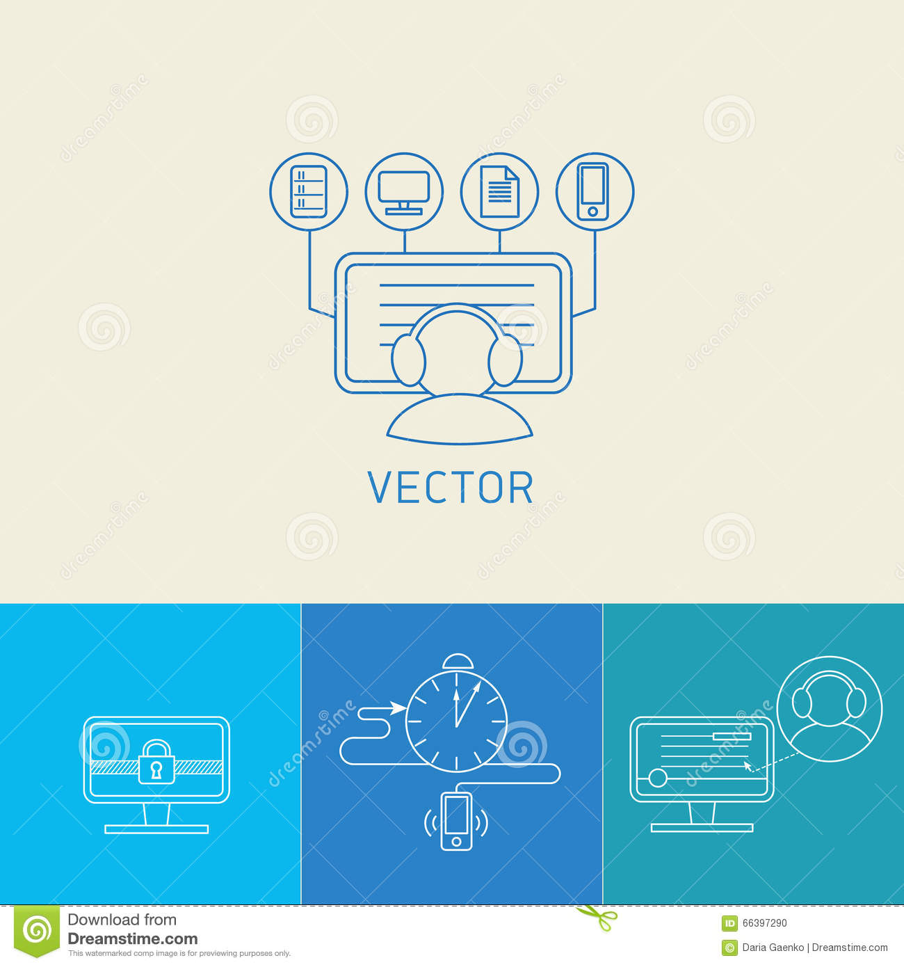 Line Art Icons : Set of vector icons stock illustration