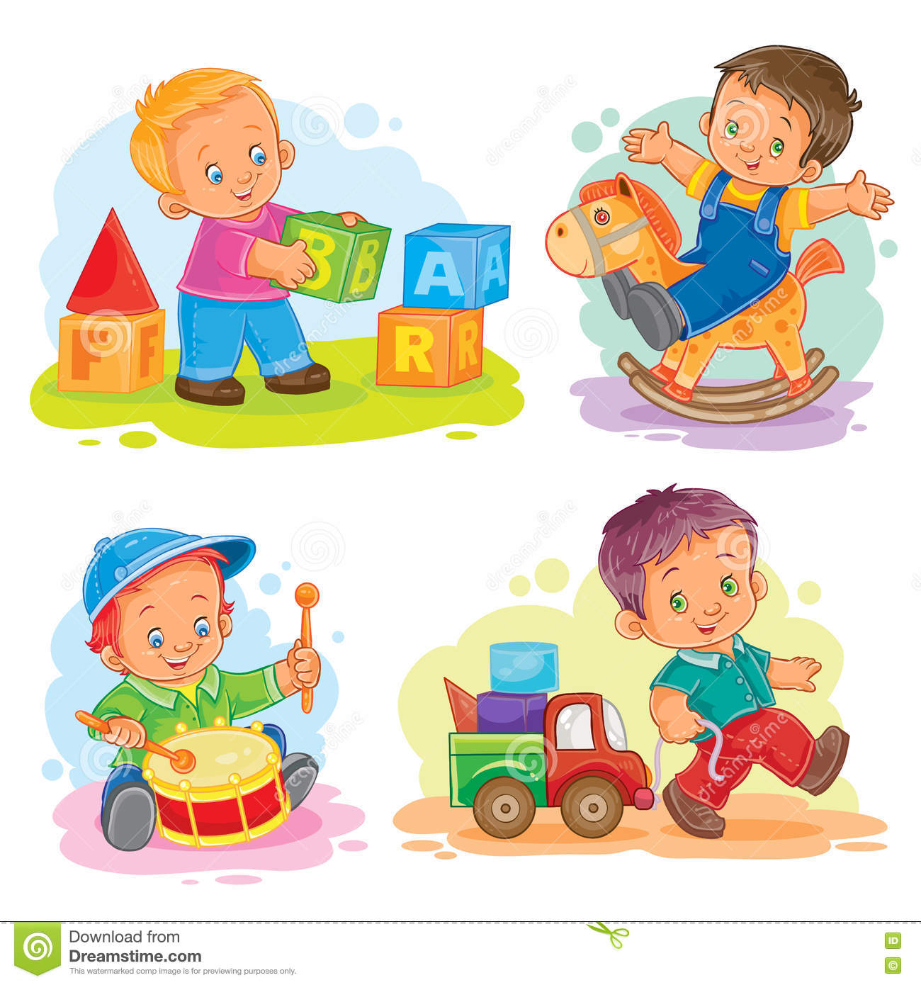 Boy Toys Drawing : Set of vector icons little boy playing with toys stock