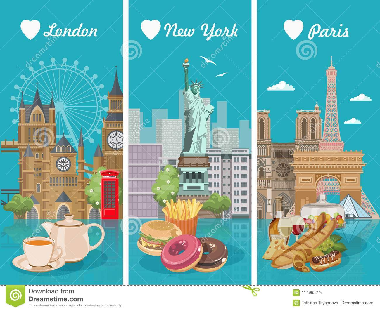 Set Of Vector Illustrations With French American English Cuisine